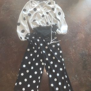 Black & White Polka Dot Dressy Pants and Top